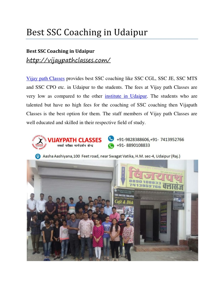 best ssc coaching in udaipur n.