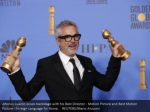 alfonso cuaron poses backstage with his best