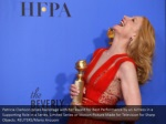 patricia clarkson poses backstage with her award
