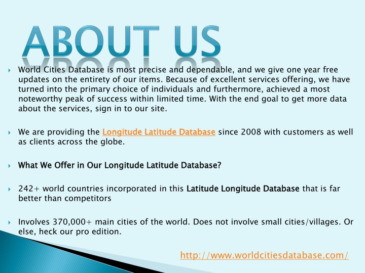 PPT - World Cities Database PowerPoint Presentation - ID:8144904