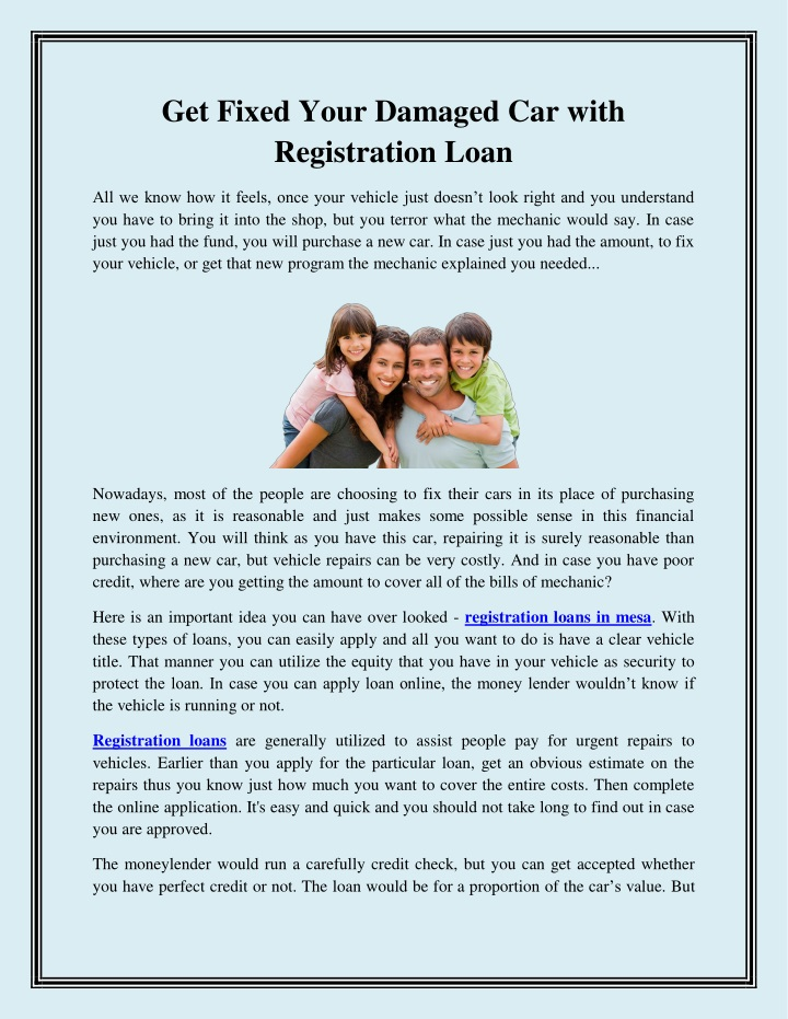 get fixed your damaged car with registration loan n.