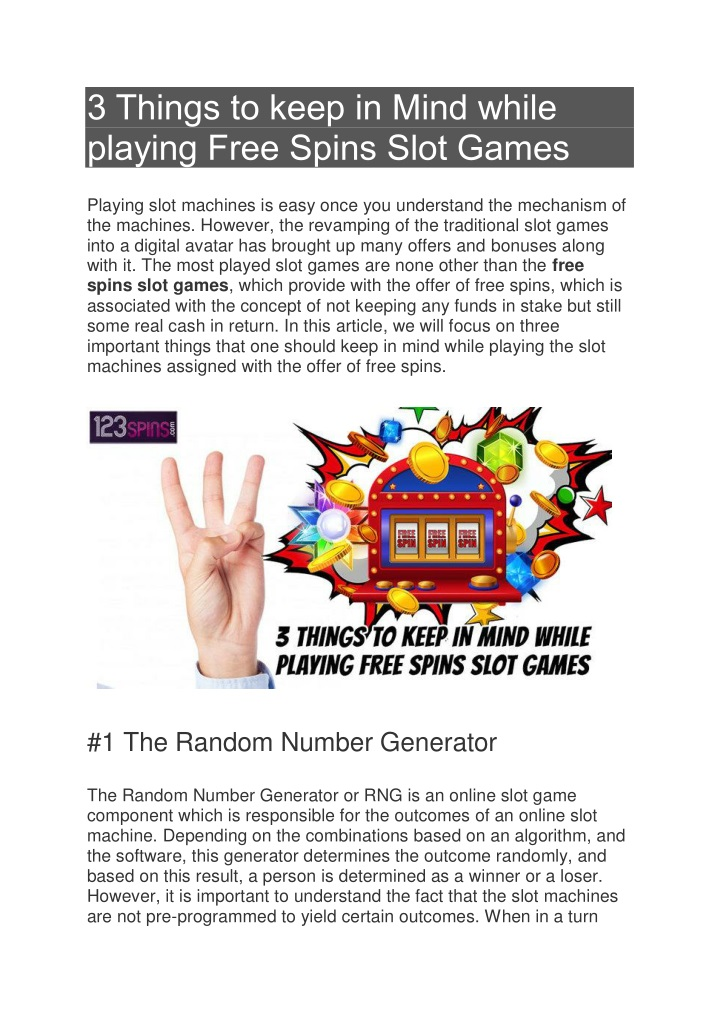 3 things to keep in mind while playing free spins n.