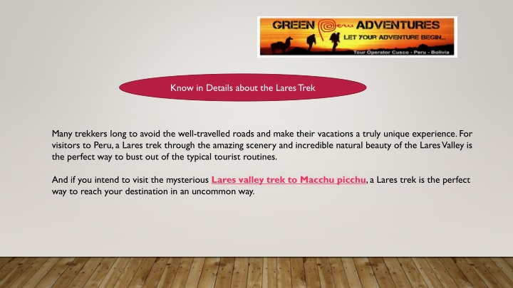 know in details about the lares trek n.
