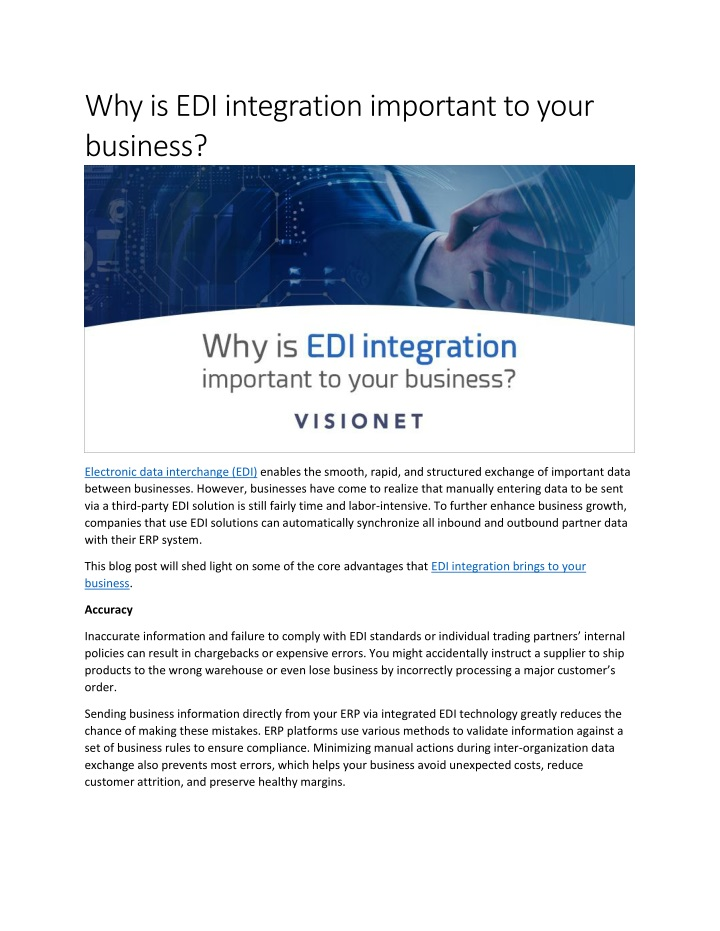 why is edi integration important to your business n.