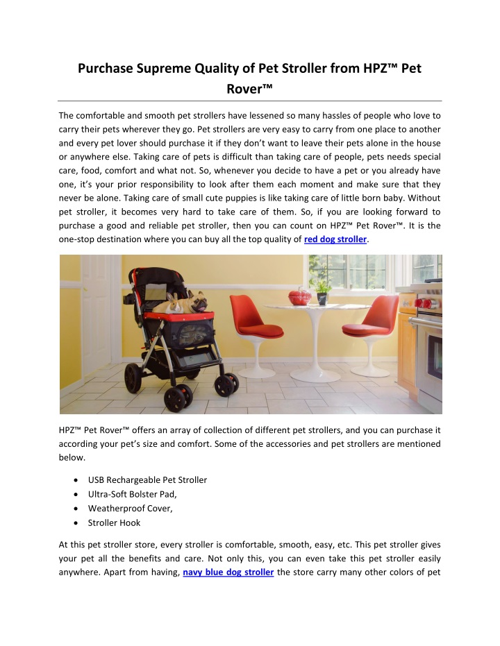purchase supreme quality of pet stroller from n.