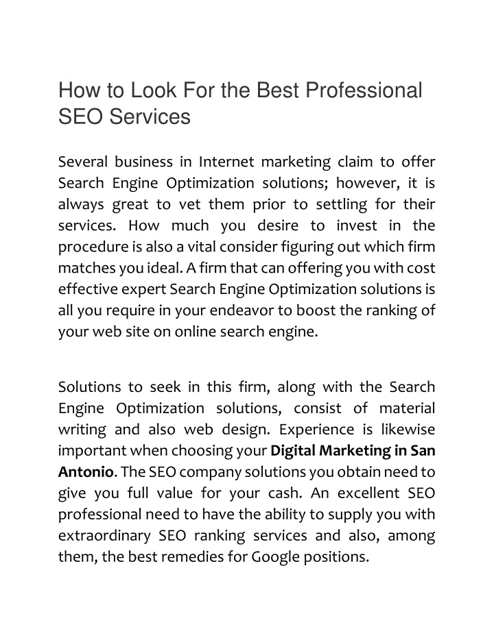 how to look for the best professional seo services n.