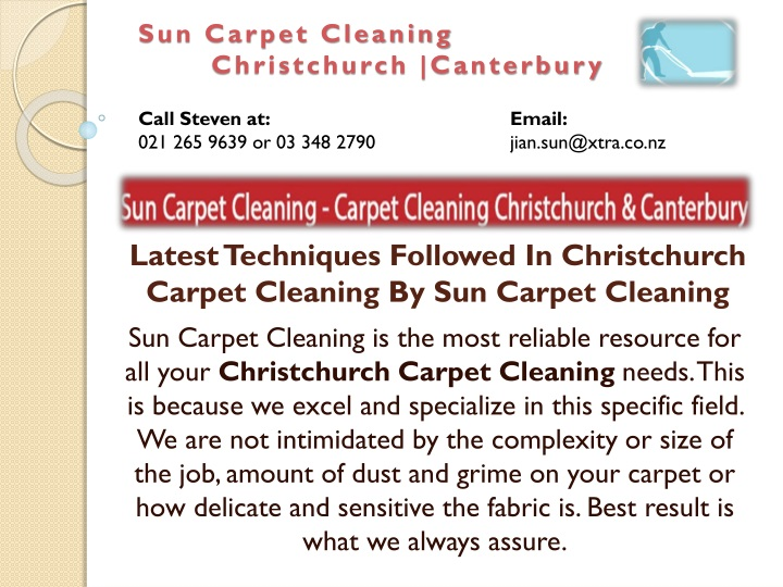 latest techniques followed in christchurch carpet cleaning by sun carpet cleaning n.