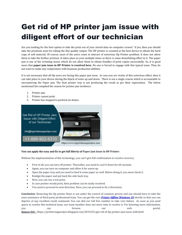 get rid of hp printer jam issue with diligent n.
