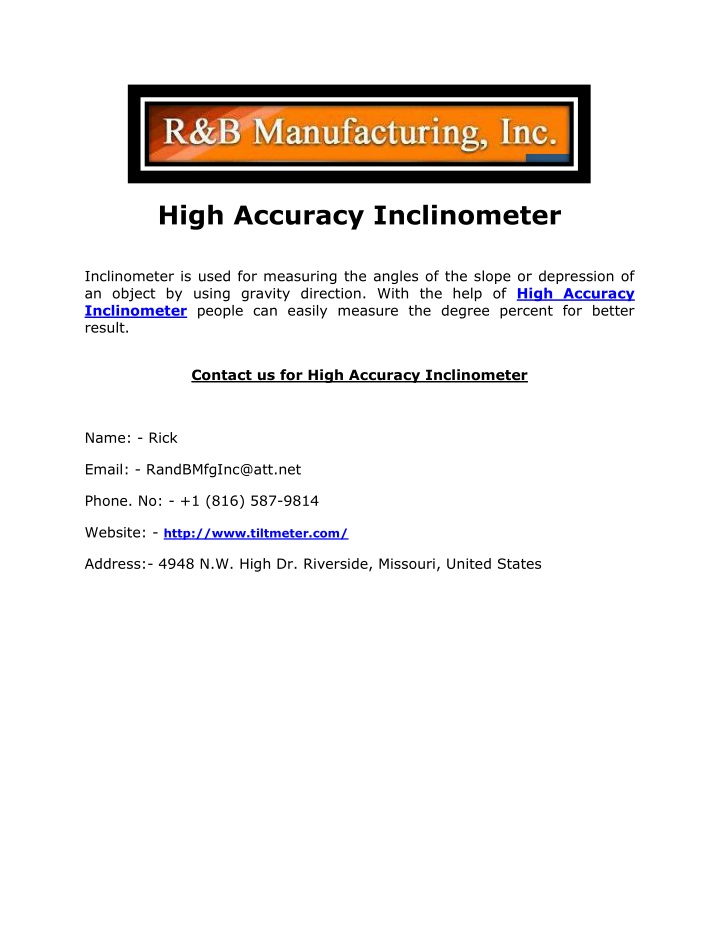 high accuracy inclinometer inclinometer is used n.