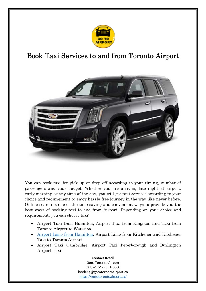 book book taxi services to and from toronto n.