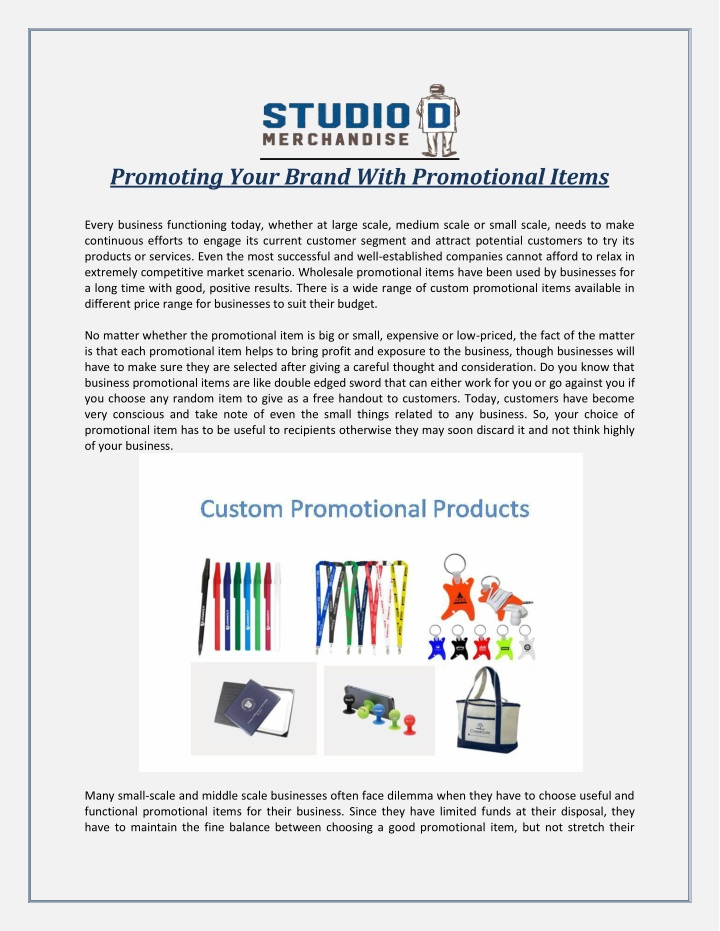 promoting your brand with promotional items n.