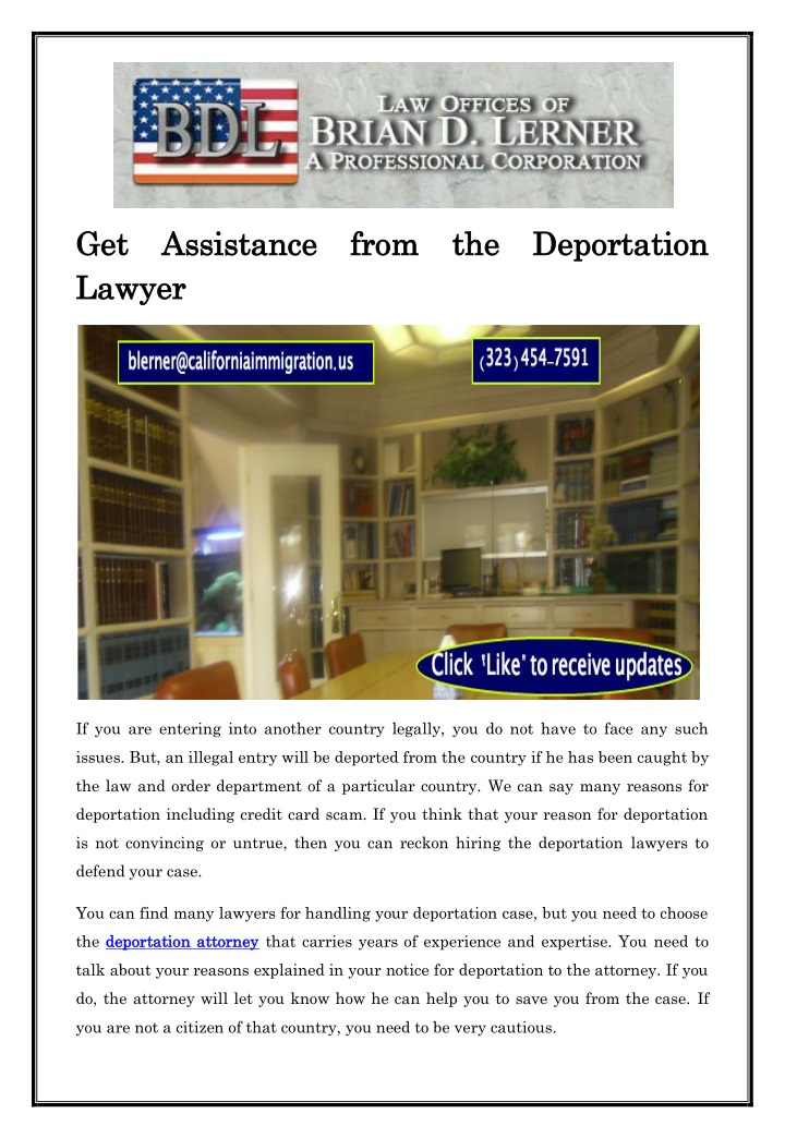 get assistance from the deportation n.