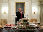 president trump speaks in front of fast food