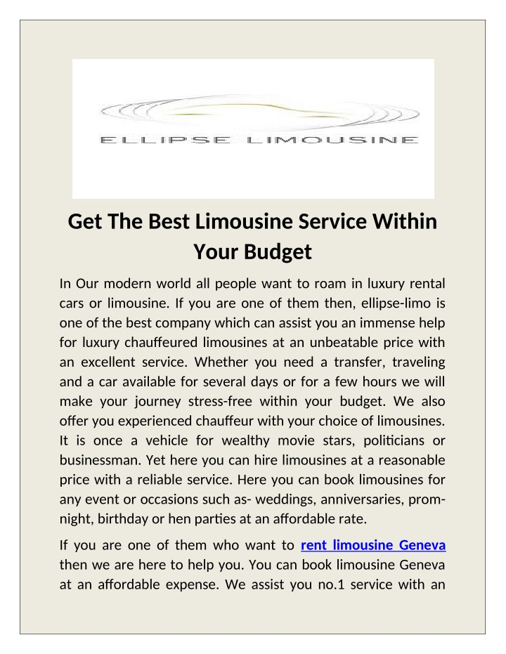 get the best limousine service within your budget n.