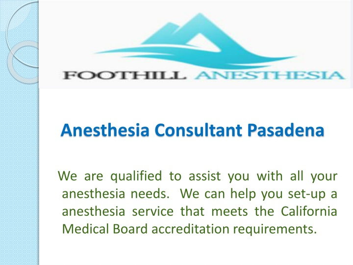 anesthesia consultant pasadena n.