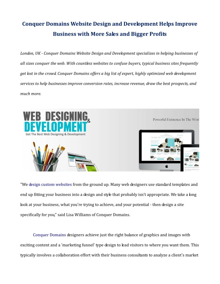 conquer domains website design and development n.