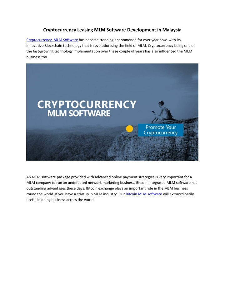 cryptocurrency leasing mlm software development n.