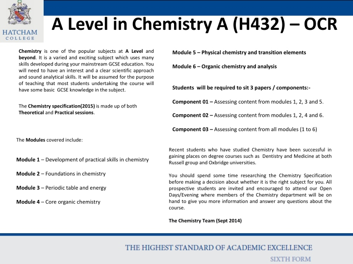 a level in chemistry a h432 ocr n.