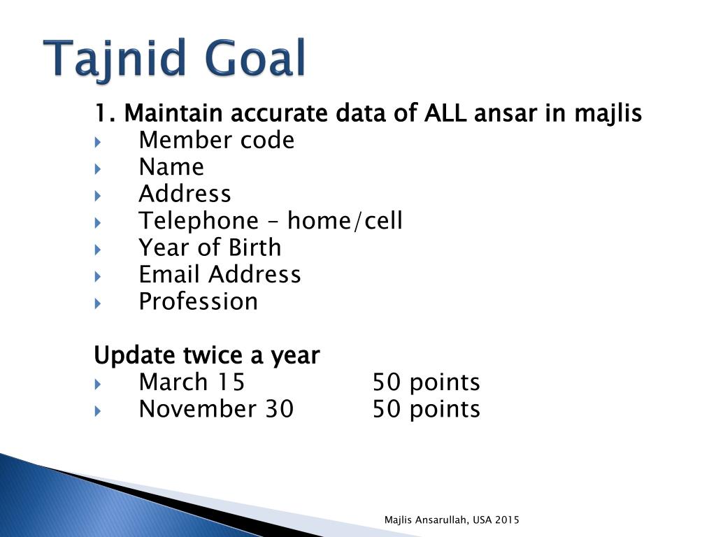 PPT - Majlis Ansārullāh , USA Tajnid Goals 2015 PowerPoint