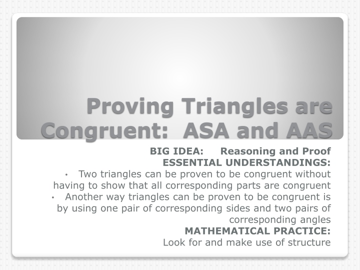 proving triangles are congruent asa and aas n.