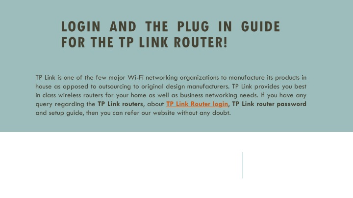 PPT - Login And The Plug In Guide For The TP Link Router