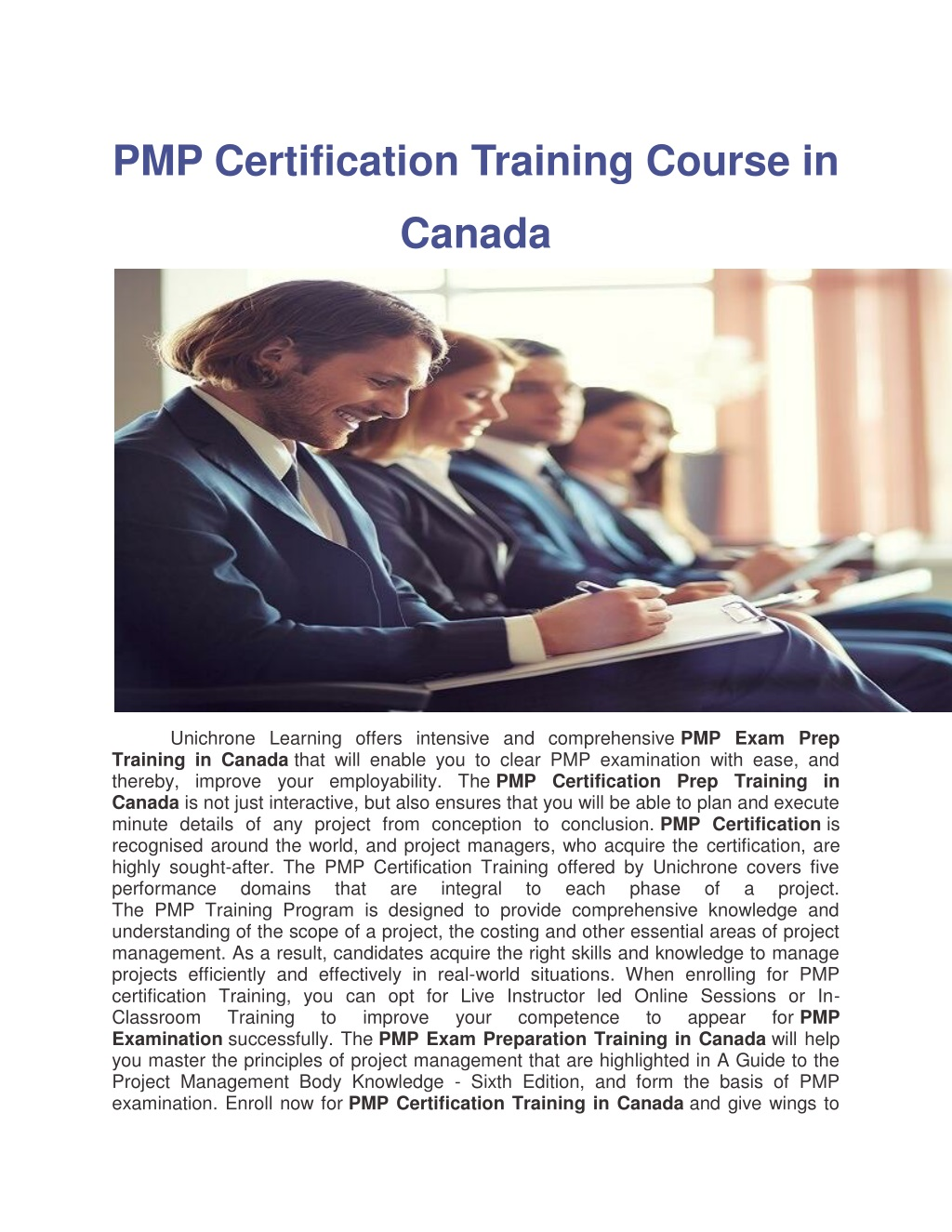 Ppt Pmp Training In Canada And Pmp Exam Prep Course In Canada