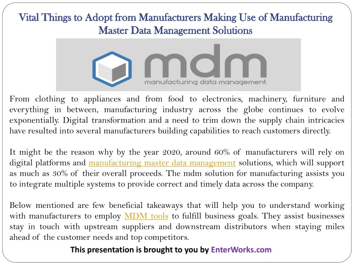 vital things to adopt from manufacturers making n.