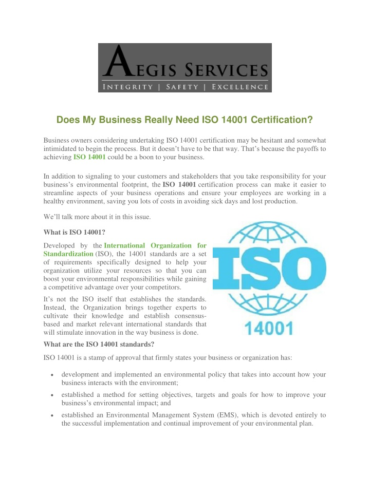 does my business really need iso 14001 n.