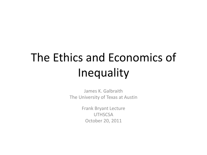 the ethics and economics of inequality n.