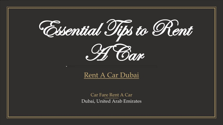 essential tips to rent a car n.