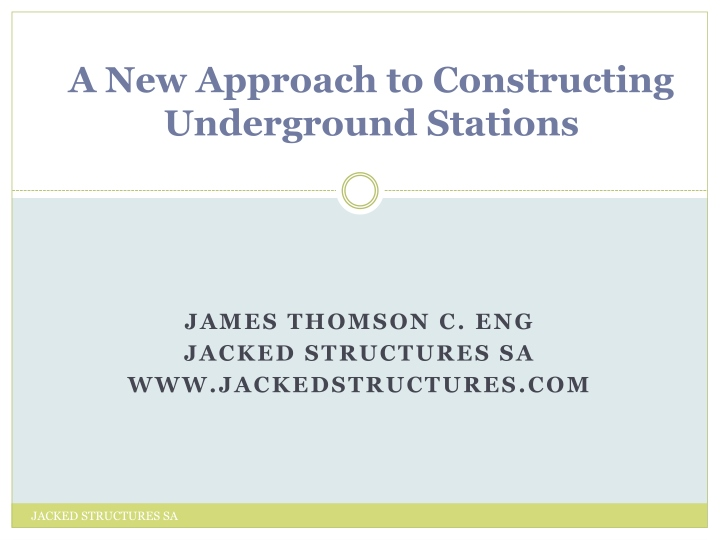 a new approach to constructing underground stations n.