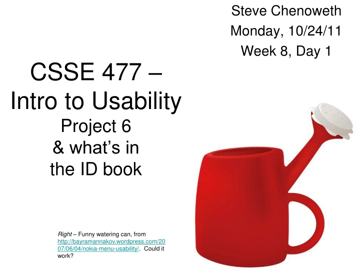 csse 477 intro to usability project 6 what s in the id book n.