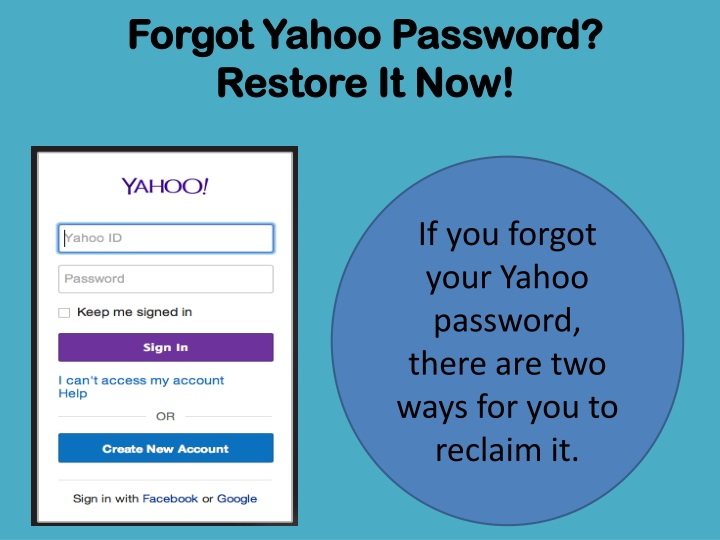 need to reset my yahoo account