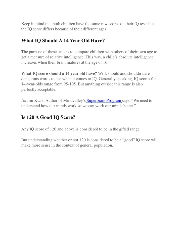 PPT - Average IQ Score By Age PowerPoint Presentation - ID