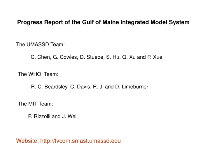 progress report of the gulf of maine integrated n.