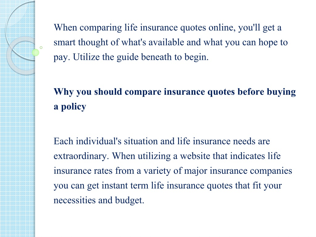 Ppt Why You Should Compare Life Insurance Quotes Powerpoint Presentation Id 8158789