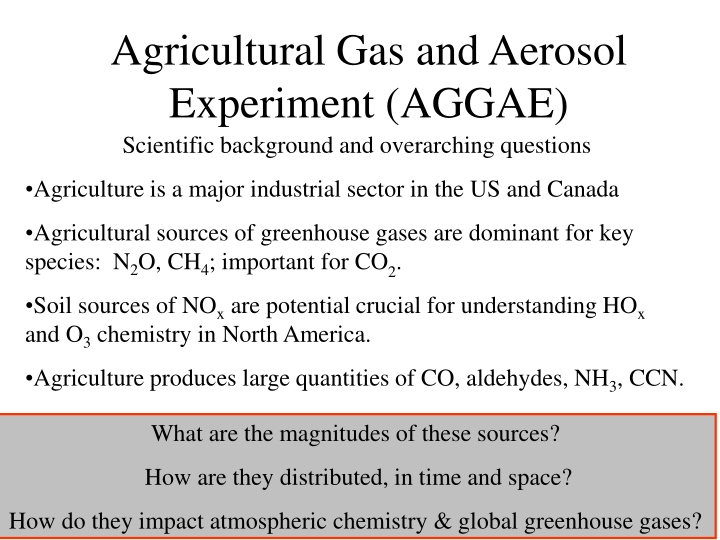 agricultural gas and aerosol experiment aggae n.