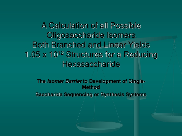 the isomer barrier to development of single method saccharide sequencing or synthesis systems n.