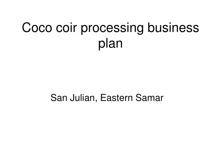 coco coir processing business plan n.