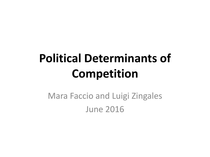 political determinants of competition n.