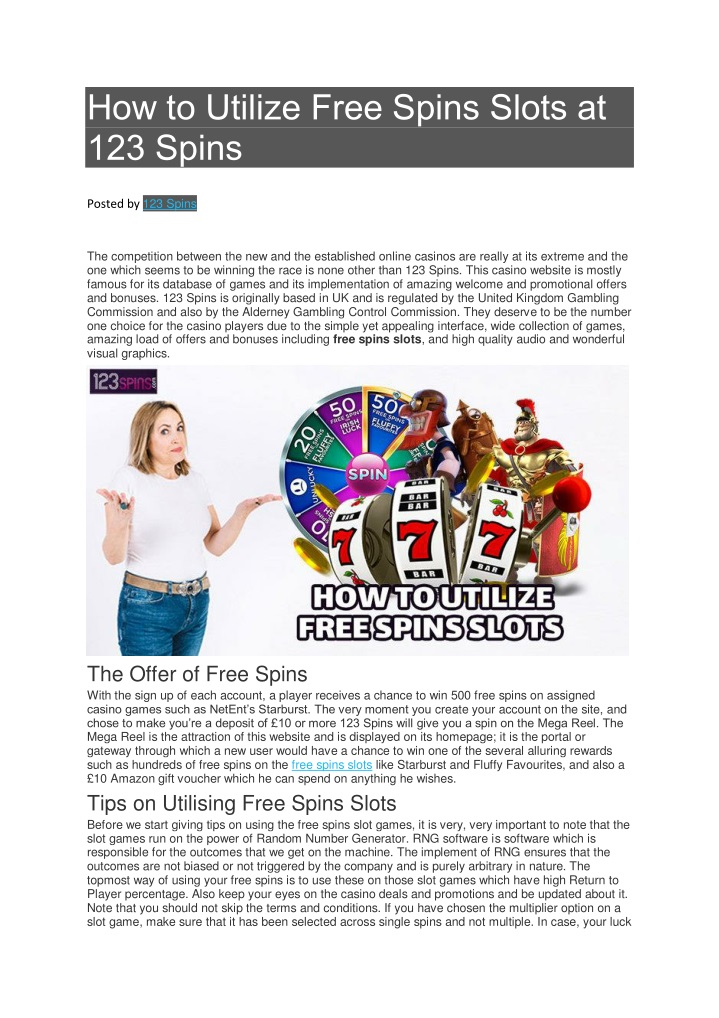 how to utilize free spins slots at 123 spins n.