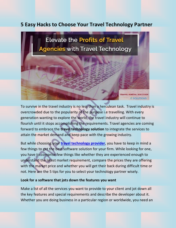 PPT - 5 Easy Hacks to Choose Your Travel Technology Partner