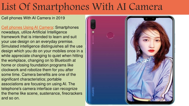list of smartphones with ai camera n.