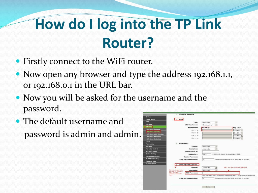 PPT - How To Reset And Change The Password Of TP Link Router