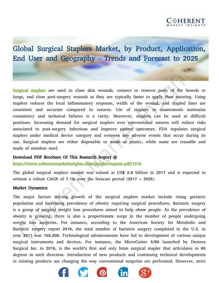 global surgical staplers market by product n.