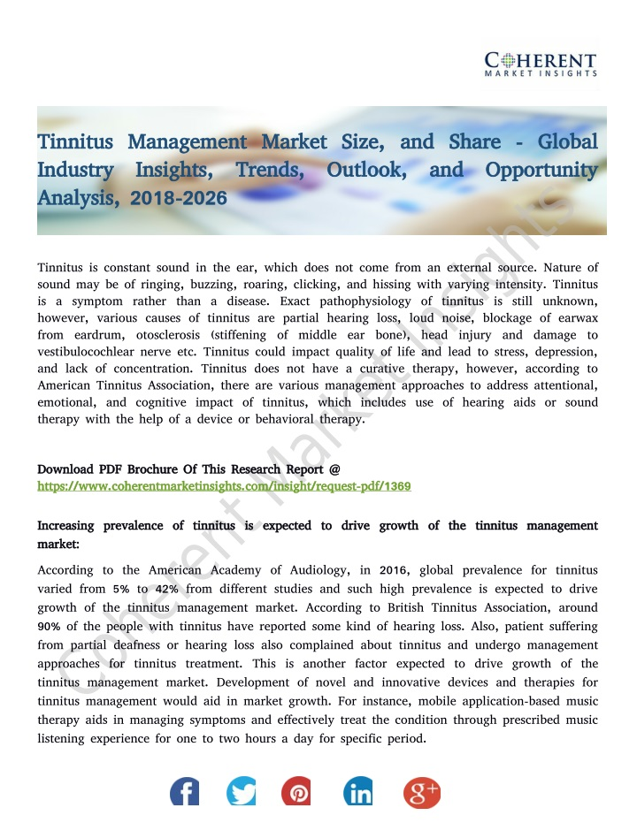 tinnitus management market size and share global n.