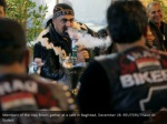 members of the iraq bikers gather at a cafe