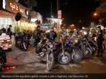 members of the iraq bikers gather outside a cafe