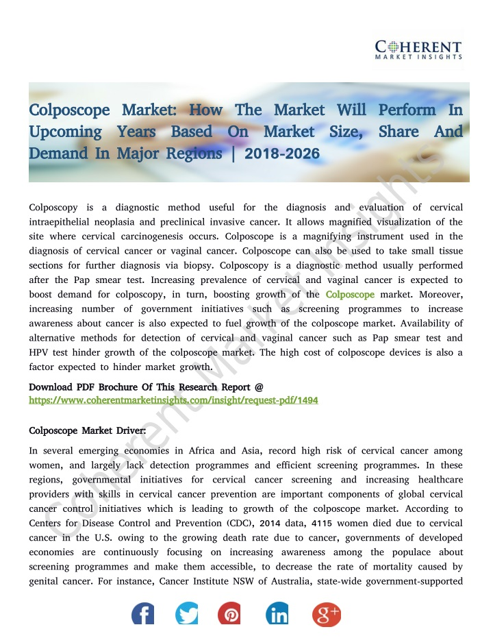 colposcope market how the market will perform n.