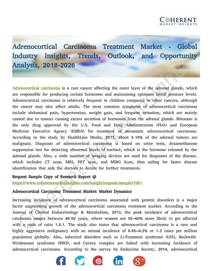 adrenocortical carcinoma treatment market global n.